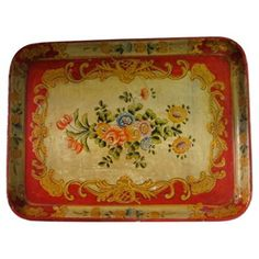 $165 Red Tole Tray