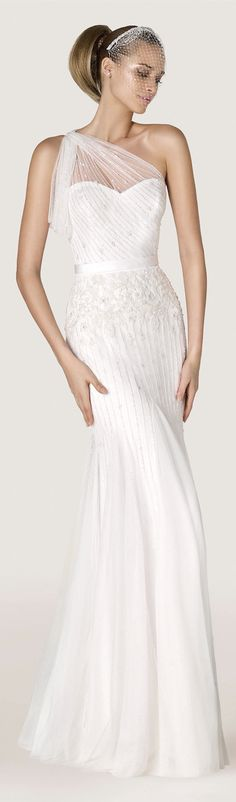 Pronovias 2015 wedding dress wedding dresses bridal gown bridal gowns sheath sleeves sleeveless one shoulder sleek sheer sexy sophisticated