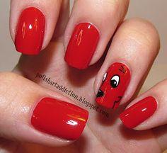 Clifford the Big Red Dog nails! Nails for Turbeville Dog Nail Art, Dog Nails, Nail Polish Designs, Nail Art Designs, Cute Nails, Pretty Nails, Fancy Nails, Pretty Eyes, Nailart