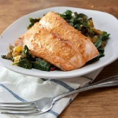 nice Salmon on Curried Spinach