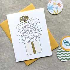 Personalized Happy Birthday Card / Whimsical Illustrated Birthday Present / Hand Lettered / Birthday Card for Her / Customized Bday Card - Custom Birthday Card / Illustrated Birthday Present / Hand Lettered Birthday Greeting Card / Birthd - Creative Birthday Cards, Birthday Gift Cards, Homemade Birthday Cards, Birthday Cards For Friends, Bday Cards, Birthday Greetings, Happy Birthday Card Diy, Birthday Card Design, Happy Birthday Hand Lettering