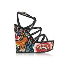 Roberto Cavalli Shoes Floral Embroidered Black Leather Wedges (€940) ❤ liked on Polyvore featuring shoes, sandals, black, wedge heel sandals, black ankle strap sandals, black wedge sandals, caged wedge sandals and black sandals