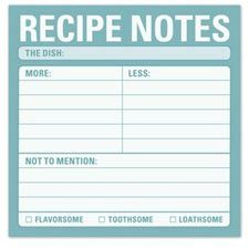 Keep track of how your recipes turn out with this fun note pad!