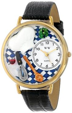 Whimsical Watches Unisex G0310002 Chef Black Leather Watch - http://www.artistic-watches.com/2016/05/09/whimsical-watches-unisex-g0310002-chef-black-leather-watch/
