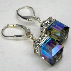 Black Crystal Earrings Sterling Silver, Modern Swarovski Cube, Short Dangle, Wedding Accessories, Bridesmaid, Handmade Jewelry, Fall Fashion...