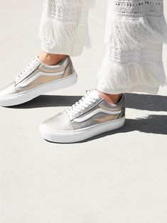 Vans Grey Gold Old Skool Platform Sneaker at Free People Clothing Boutique