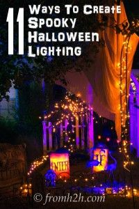 Halloween Outdoor Lighting Ideas: 18 Spooky Ways To Light Your Yard - Entertaining Diva @ From House To Home - If you want some ways to make your yard haunt look spooky, these outdoor Halloween lighting ideas a - Halloween Prop, Halloween Graveyard, Halloween Scene, Halloween Banner, Halloween Yard Decorations, Halloween Haunted Houses, Halloween Lighting, Holidays Halloween, Happy Halloween