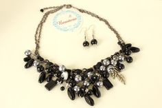 Black Agate & Grey Pearl Glass beads Necklace/earrings