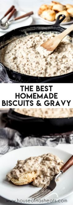 Bisquits And Gravy, Homemade Gravy For Biscuits, Biscuits And Gravy Casserole, Sausage Gravy And Biscuits, Buttermilk Biscuits, Brunch, Homemade Sausage Gravy, The Best Sausage Gravy Recipe, Easy Cooking