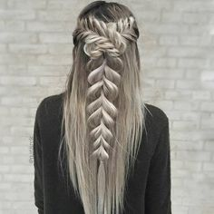 """5,707 Likes, 35 Comments - behindthechair.com (@behindthechair_com) on Instagram: """"* Half up Fishtail wrapped Pull-Through Braid ・・・ By @n.starck #braids #fishtailbraid #instabraids…"""""""