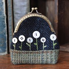 Primitive Vintage Buttons Flower Garden Wool by rockriverstitches, $22.00