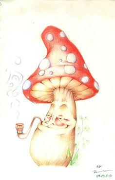 Shroom by on DeviantArt Mushroom Drawing, Mushroom Art, Trippy Drawings, Doodle Drawings, Badass Drawings, Hippie Painting, Stoner Art, Psy Art, Arte Horror