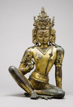 ca. 1200 Indra, Lord of Storms and King of the Gods' with horizontal third eye .Mercury-gilded copper alloy with spinel rubies, rock crystal, and turquoise. Kathmandu Valley, Nepal, Medieval Period.