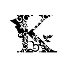 Flower Clipart - Black Alphabet K with White Background   Download Free Flower Clipart, Designs, Gallery, Web Arts, Graphics, Images and Vector