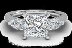 Engagement Rings Princess Cut With Triangle Diamonds On Side 8