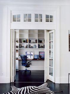 Suzie: via Desire to Inspire  white & black office design with cowhide zebra rug, black wood ...