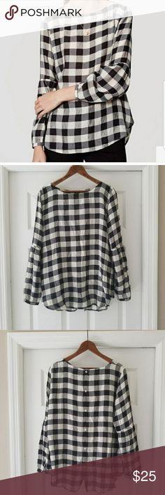 Ann Taylor loft Gingham top So cute and versatile. EUC. Reposh was too small for me 😭. Black and white. Large gingham print Ann Taylor Tops Blouses