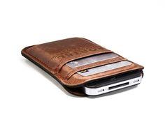 RETROMODERN aged leather iPhone 4 pocket - - LIGHT BROWN via Etsy