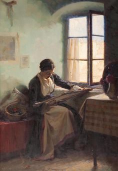 View Girl embroidering by the window by Apostolos Geralis on artnet. Browse upcoming and past auction lots by Apostolos Geralis. Greek Art, Illustrations, Cute Illustration, Textile Art, Art Forms, Female Art, Needlework, Contemporary Art, Art Photography