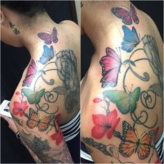 Butterfly Tattoos with Cherry Blossom Flowers