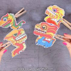 Chinese Dragon Clothespin Puppets - Chinese new year crafts for kids