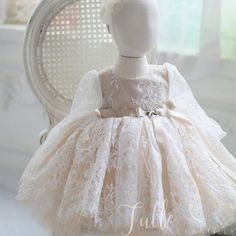 Knee Length Lace Flower Girl Party Dresses Long Sleeve Holy Communion Dresses TQM203 Baby Girl Birthday Dress, Girls Party Dress, Birthday Dresses, Party Dresses, Lace Flower Girls, Lace Flowers, Flower Girl Dresses, Ball Gown Dresses, Ivory Dresses
