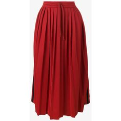 Gucci Pleated Web Skirt (44.700 RUB) ❤ liked on Polyvore featuring skirts, red, high rise skirts, red knee length skirt, stripe skirts, high waisted pleated skirt and high waisted knee length skirt