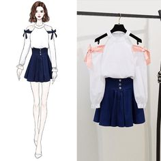 Leakage Shoulder Bowknot Blouse Coat & Denim Short Skirt New Fresh Wind Sweeet Girl 2 Pcs Set Clothing Women Outfit Vestido Source by reyadnigeria outfits moda Teen Fashion Outfits, Kpop Outfits, Korean Outfits, Mode Outfits, Cute Fashion, Stylish Outfits, Girl Fashion, Fashion Drawing Dresses, Fashion Illustration Dresses