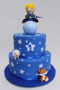 Principito Cake Violeta Glace Half Birthday Cakes, First Birthday Parties, First Birthdays, Little Prince Party, The Little Prince, Baby Boy Cakes, Cakes For Boys, Bolo Simpsons, Fondant Cakes