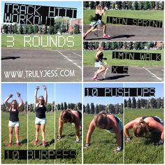 1min sprints, 1min walk X 5  10 burpees  10 pushups  *Rest* and repeat 2 more times