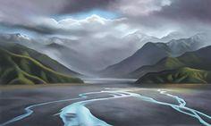 new zealand landscape paintings New Zealand Landscape, New Zealand Art, Nz Art, Contemporary Artwork, Gothic Art, Cool Artwork, Online Art, Landscape Paintings, Paint Colors