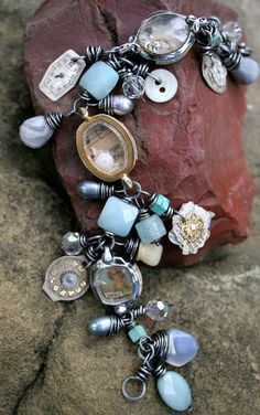 pieces of old watches as frames and charms, mix well with pretty sea colored beads