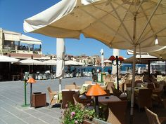 coffee in Chania Harbour