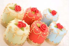 Colorful Little Cakes with Gold Piping