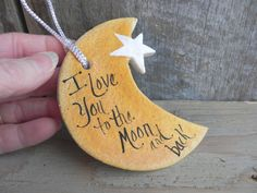 Moon and Star Salt Dough Ornament Love You by cookiedoughcreations
