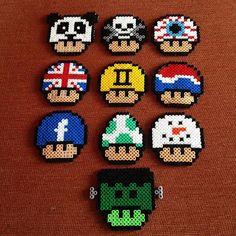 Mario mushrooms hama beads by gothpanda