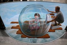 Leon Keer born Utrecht, Netherlands is a Dutch pop surrealist artist who has created work on canvas and artwork on the streets across the world. Leon Keer learnt painting through designin… 3d Street Painting, 3d Street Art, Amazing Street Art, Street Artists, 3d Painting, 3d Chalk Art, Art 3d, Art Optical, Optical Illusions