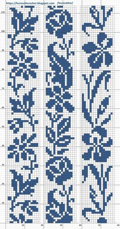 Crochet Patterns Filet, Crochet Chart, Loom Patterns, Filet Crochet, Crochet Patterns Amigurumi, Crochet Lace, Embroidery Patterns, Cross Stitch Borders, Cross Stitch Charts