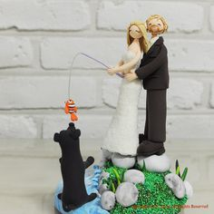Fishing at Beach, Lake theme custom wedding cake topper Decoration  Gift. $200.00, via Etsy.