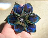 Split-Petal Star Flower Peacock Feather Hair Clip Fascinator with Dark Silver Accent Piece and Rhinestone