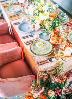 A closer look at this luscious table we designed with our sunset velvet chairs and lunar lilac plates / enso stems / forged copper & desert rose flatware Brunchs Ideas, Wedding Table, Wedding Reception, Reception Design, Wedding Bride, Bride Groom, Reception Decorations, Table Decorations, Centerpieces