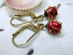 10k Enamel Red Ladybug Leverback Dangle Earrings 1.85g - pinned by pin4etsy.com