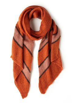 Stone Soup Scarf in Pumpkin - Orange, Multi, Stripes, Knitted