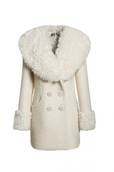 Faux Fur Collar Double Breasted Wool-blend Coat $123