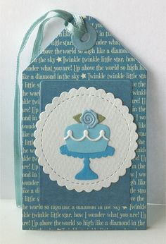 Tag card cake flower rose leaves TE Cake and stand Taylored Expressions, rose from IO wedding cake die set Impressions Obsession, leave candle from MFT Bring on the cake Die-namics,  MFT mini scalloped circle stax Die-namics, MFT Tag-builder 1 Die-namics - JKE