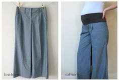 Here I took an $8 pair of clearance trousers and converted them into maternity pants. I've done this in the past with jeans as well... not a...