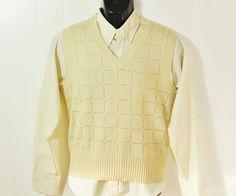 1970s Mens Sweater Vest Medium Pale Yellow V-Neck Knit Pullover Menswear Dapper #RetroFashion Womens Large Vest $22.50by ArmorOfModernMen on Etsy #dapperman #gentleman #menstyle #mensfashion #vintagemenswear #vintageclothing #vintageclothes #1970'sfashion #armorofmodernmen #unisexclothing