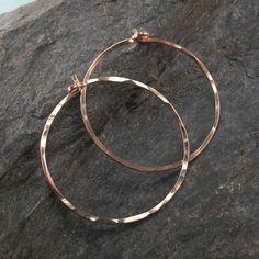 rose gold HOOP earrings . 14k rose goldfilled  hoops. hammered hoop earring. one inch hoop. sleeper earring. inch. nickel free. No.00E262 on Etsy, $16.95