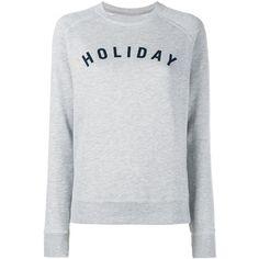 Holiday Logo Cotton Sweatshirt (6,470 INR) ❤ liked on Polyvore featuring tops, hoodies, sweatshirts, grey, cotton crew neck sweatshirt, long sweatshirt, raglan crewneck sweatshirt, gray crewneck sweatshirt and evening tops