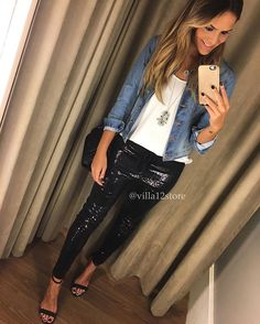 Instagram media by villa12store - Friday!!! Calça jogging em malha Paete + Jaqueta jeans